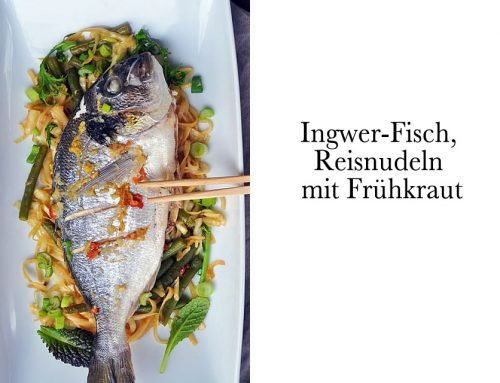 Ingwer-Fisch, Reisnudeln mit Frühkraut