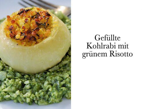 Gefüllte Kohlrabi mit grünem Risotto (vegetarisch)